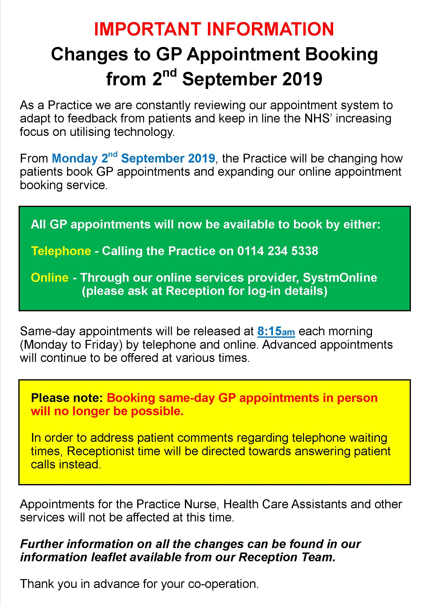 Appointment Changes Poster 2019